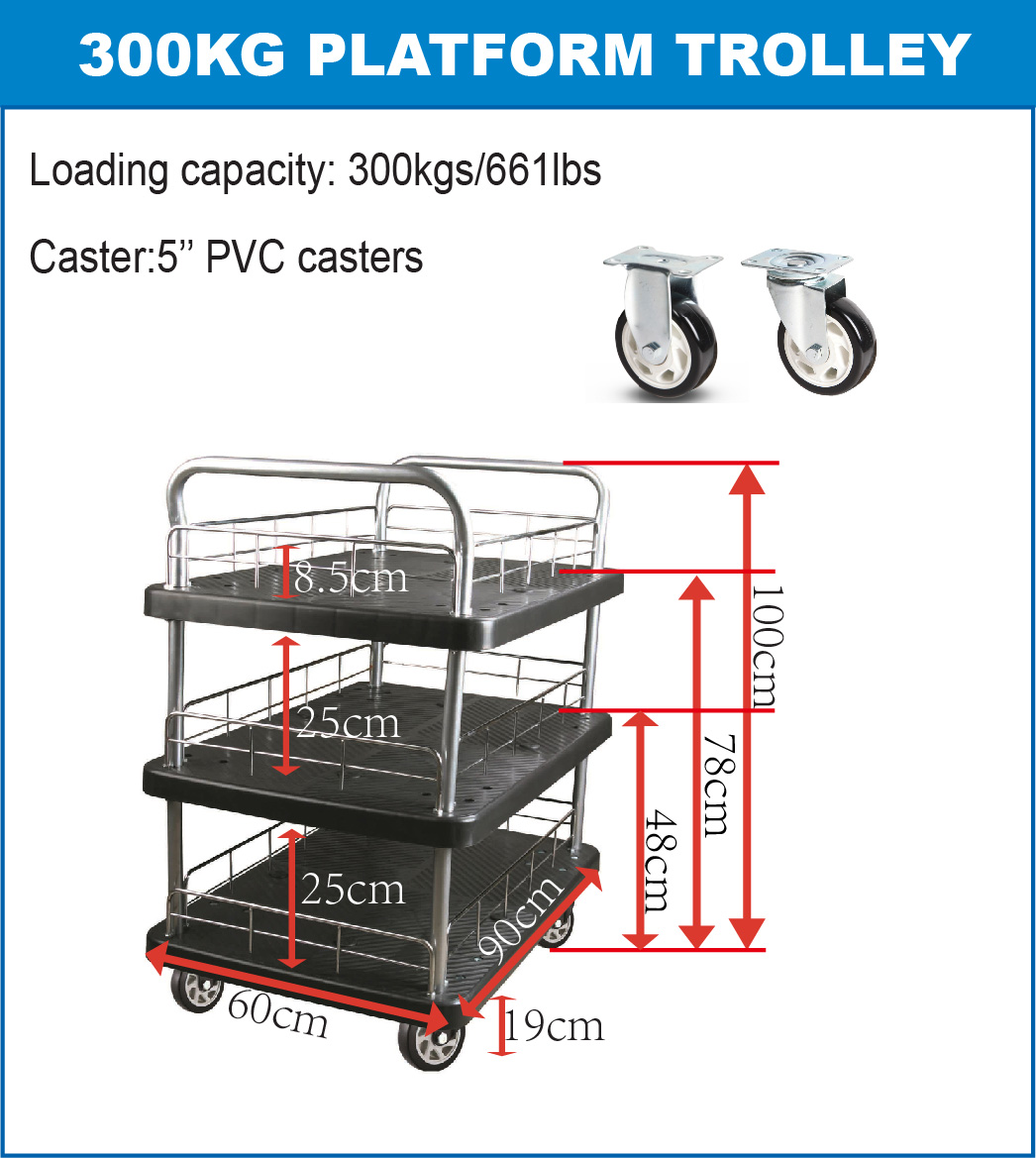 300kgs triple layers Platform Hand Trolley(black)specification