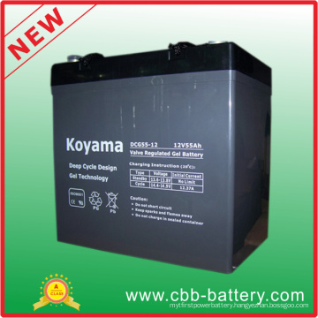 12V 55ah Deep Cycle Gel Battery for Medical Mobility