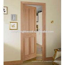 Mogno folheado portas interiores de 4 painéis shaker