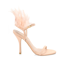 Trendy Fashion Show Feather Sexy Open Toe Stiletto Heels Women Sandals