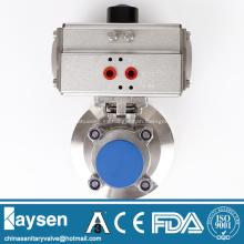 Válvulas de bola de fondo sanitario neumático
