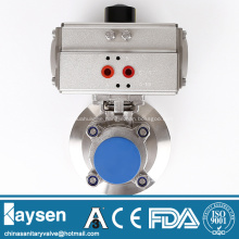 Sanitary pneumatic tank bottom ball valves