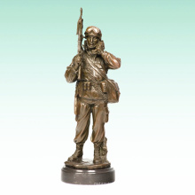 Metal Male Soldier Home Deco Army Bronze Sculpture Statue Tpy-476