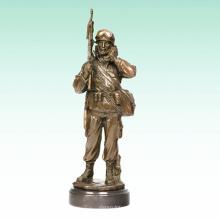 Metal Masculino Soldado Início Deco Exército Bronze Estátua Tpy-476
