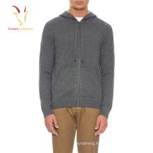 OEM Service Top laine de mode cardigan à capuche hommes hoodie Pull en gros