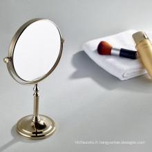 Miroir grossissant de table de beauté cosmétique de couleur d'or de vente chaude