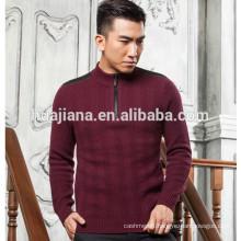 Mock neck style men's 100% cashmere knitting sweater