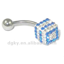 Atacado Moda Piercing Crystal Belly Button Ring