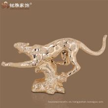 Decoración casera figura puerta frontal sala de bienvenida animal estatua polyresin leapord escultura