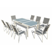 9pcs alu. extension dining set