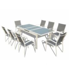 9pcs alu. extension dining set