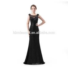 Vestidos de noche elegantes del diseño largo del piso lentejuelas negro sexy eveing largo vestido 2018