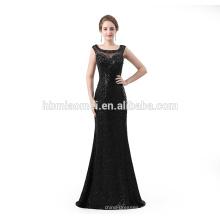 Элегантный длинная Вечерние платья длина пола блестками черный сексуальный длинным вечерним платьем 2018