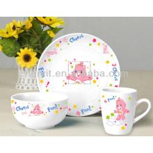 Juego de desayuno de cerámica de los niños 3PC de la venta caliente