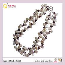 2013 joyería de la manera, collar de la perla, collar cristalino