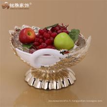 Thème animal animal de vie artisanat et artisanat polyresin plateau de fruits en forme de paon