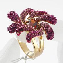 Women's fashion rhinestone red enamel flower finger rings classic finger jewelry for women