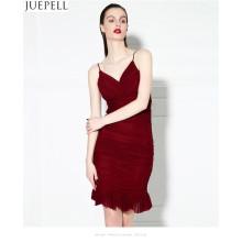 2016 Новое сексуальное платье сплошного цвета повелительниц цвета платье тонкое плотно низк-вырежьте платье женщин способа способа вальмы hip