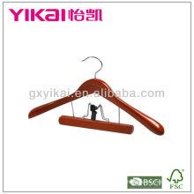 Cabide de madeira de alta qualidade com braçadeira de calças