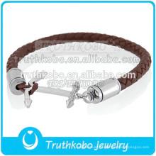Fasshion pulseira de couro por atacado de aço inoxidável colocar cinzas no bracelete
