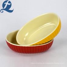 Großhandel Fabrik Niedriger Preis Gedrucktes Steinzeug Keramik Oval Backblech