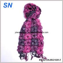 2014 Fashion Skinny Stripe Checked Invierno cálida bufanda de burbujas de volantes