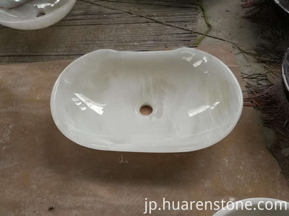 white onyx vessel sink