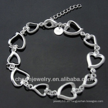 Toda la moda pulsera plateada con corazón encantos BSS-034