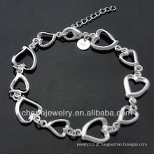 Toda a moda pulseira banhado a prata com coração encantos BSS-034