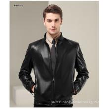 Plus Size 2015 Fashion Black Men Tight Genuine Leather Jacket