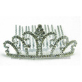 Fashion Pink Elegant Rhinestone Bride Crown Combs