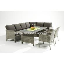 Сад Плетеный диван обеденный набор открытый патио мебель