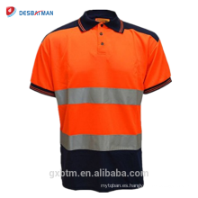 OEM Birdeye Heat Transfer Safety Uniform Navy Cuello Trabajo de seguridad Wear 2 Tone High Visibility Polo Shirt Reflective T shirt