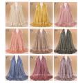 TINGYU Atacado Moda Simples Cor Mulheres Muçulmanas Cachecol Hijab