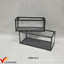 Handcrafted retro metal caixa de exibição de vidro emoldurado
