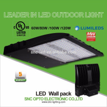 Water proof outdoor UL listed 120w led wallpack light with 5 years warranty