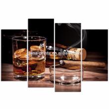 Art de mur en toile moderne pour mur / Whisky et Cigarette Affiche / Art de mur d'alcool avec cadre en bois