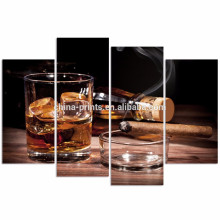 Modern Canvas Wall Art for Wall/Whisky and Cigarette Poster/Liquor Wall Art with Wood Frame