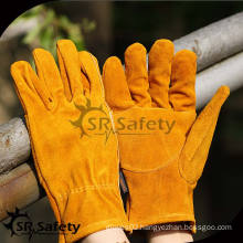 SRSAFETY yellow leather glove driver gloves wheat