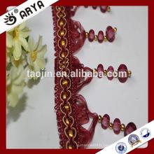 Stock produits perles de rideaux frange de gomme pour la décoration de rideaux