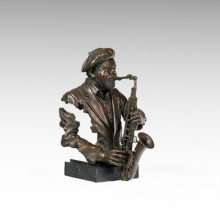 Bustes Laiton Statue Noir Gens Décoration Bronze Sculpture Tpy-481