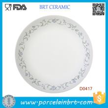 Prato de almoço de porcelana barato branco por atacado