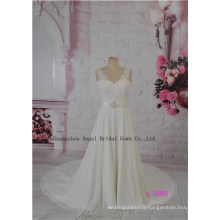 Beading Chiffon A-Line Bridal Gowns Modest Folds Corset