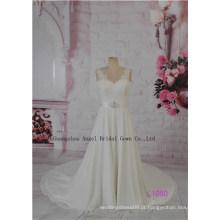 Beading Chiffon A linha de vestidos de noiva modesta dobras espartilho