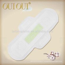 Maxi soft cottony cover sanitary napkins with silver ion green chip with breathable backing
