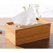 Caja de pañuelos rectangular de bambú