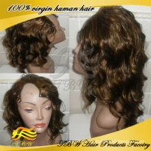 Peruca de cabelo humano brasileiro Castanho claro com off destaques em preto cor U parte perucas