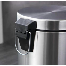 Stainless steel kitchen trash bin with lid