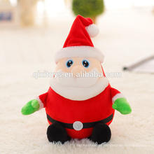 Brinquedo de pelúcia fofo Natal Papai Noel musical com luz