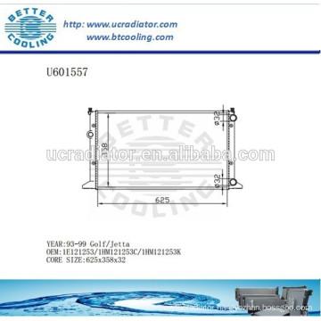 Automotive Radiator For VOLKSWAGEN Golf/Jetta 93-99 1E121253/1HM121253C/1HM121253K
